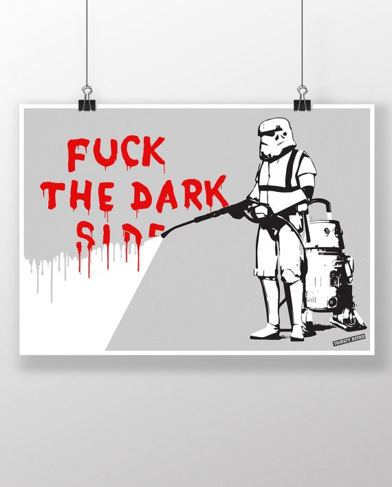 fuck_dark_side_stormtrooper_cave_painting_banksy_thirsty_bstrd_urban_art_star_wars_print