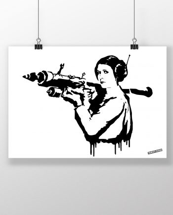 princess_leia_bazooka_rocket_mona_lisa_banksy_thirsty_bstrd_urban_art_star_wars_print